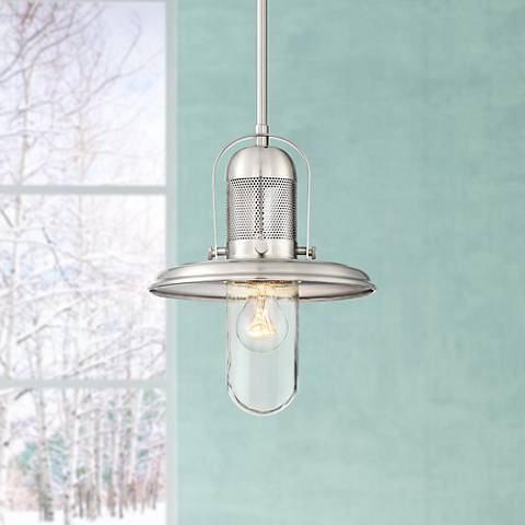 "Possini Euro Eli 10 1/4""W Brushed Nickel Mini Pendant"