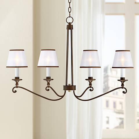 "Rondele 36"" Wide Oil Rubbed Bronze 4-Light Chandelier"