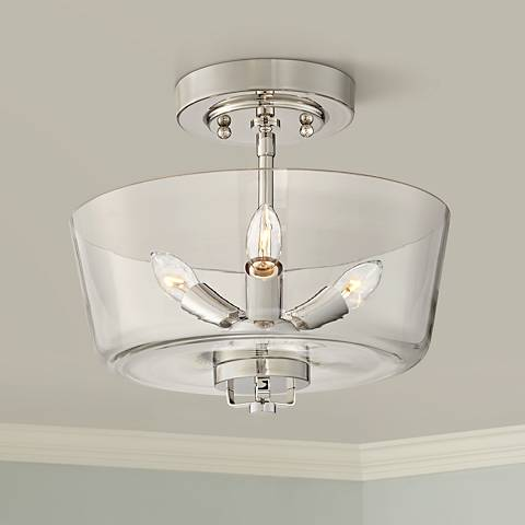 Janus Polished Nickel Glass Bowl 3-Light Ceiling Light
