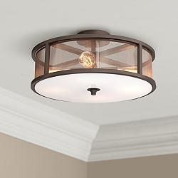 Possini Euro Nadia Bronze and Organza 4-Light Ceiling Light