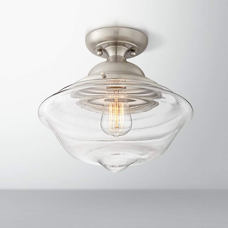 "Schoolhouse 13"" Wide Brushed Nickel and Glass Ceiling Light"