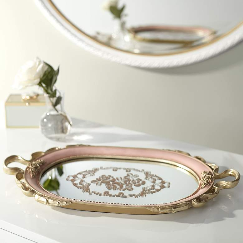 "Capolla Pink and Gold 20"" Wide Mirrored Tray"