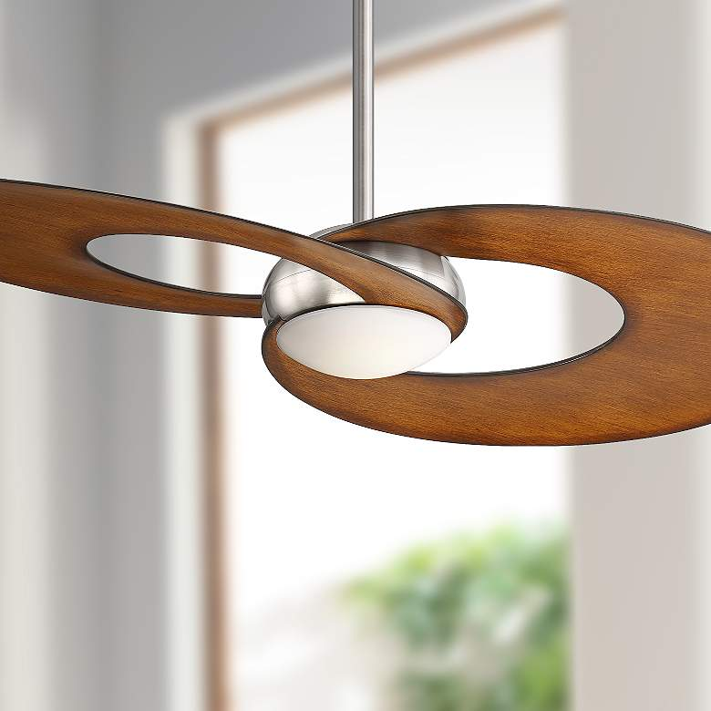 "52"" Innovation™ Koa Brushed Nickel LED Ceiling Fan"