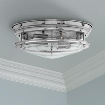 "Hinkley Hadley 12"" Wide Chrome 2-Light Ceiling Light"