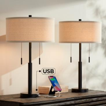 Bernie Industrial Bronze Table Lamp with USB Set of 2