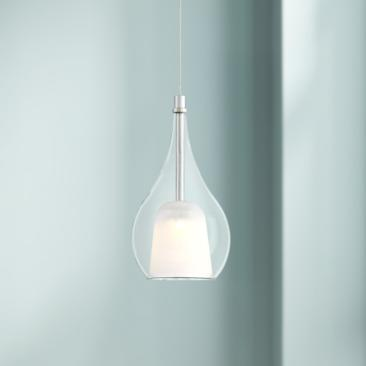"Tribbi 5 1/2"" Wide Chrome and Clear Glass LED Mini Pendant"