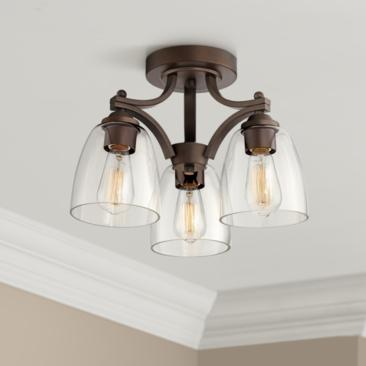 Franklin Iron Works Hadler Bronze 3-Light Ceiling Light