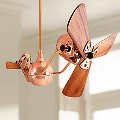 Small ceiling fans without lights lamps plus 44 matthews vent bettina dual head copper ceiling fan aloadofball Image collections