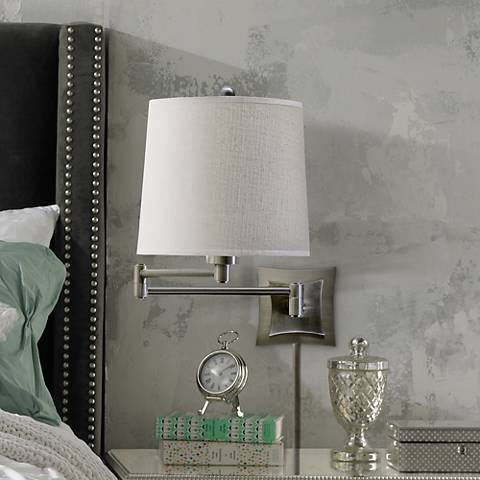 Lovana Silver Finish Plug-In Swing Arm Wall Lamp
