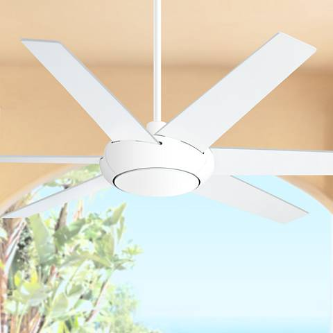 "60"" Casa Vieja Exposition White DC Damp Ceiling Fan"