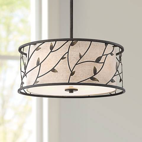 "Zollo 20"" Wide Bronze Pendant Light with Fabric Shade"