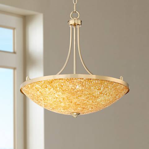 "Yuval 21 1/2"" Wide Warm Brass Bowl Pendant Light"