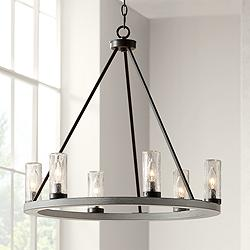 "Lillian 27"" Wide Gray Wood Ring Wagon Wheel Chandelier"
