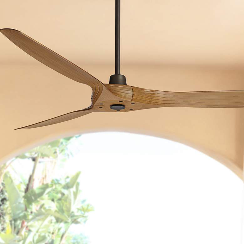 "60"" Aireon Bronze and Walnut Damp Rated Ceiling Fan"