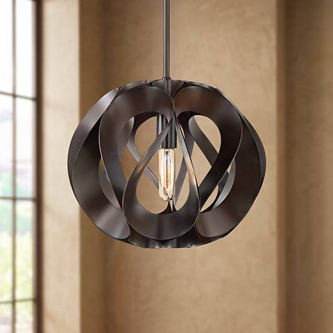 "Possini Euro Foothill 15 1/4""W Bronze Painted Pendant Light"