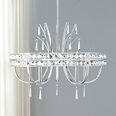 "Possini Euro Garnet 24 3/4"" Wide Chrome 5-Light Chandelier"