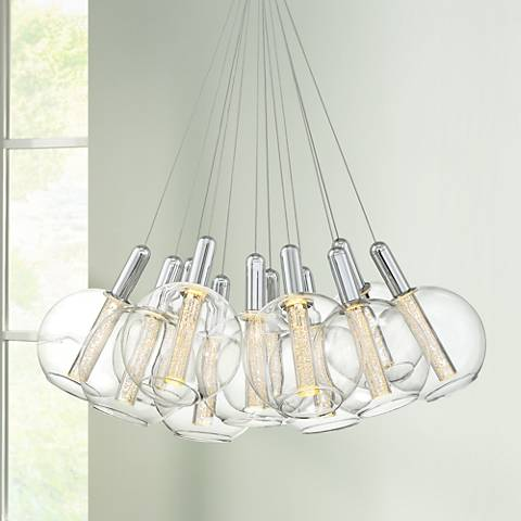 "Possini Euro Ellyson 29""W Chrome 12-LED Multi Light Pendant"