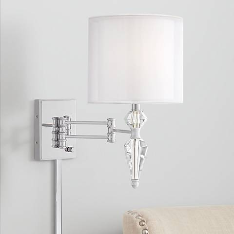 Possini Euro Park Place Brushed Nickel Swing Arm Wall Lamp