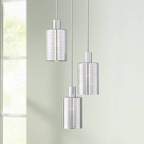 "Possini Euro Zarah 12"" Wide Chrome Multi Light Pendant"