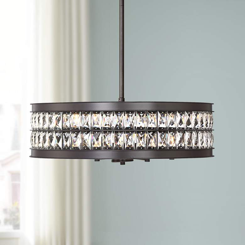 "Jaylen 23 1/2""W Oil-Rubbed Bronze and Crystal Pendant"