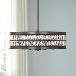 "Jaylen 23 1/2""W Oil-Rubbed Bronze and Crystal Pendant Light"