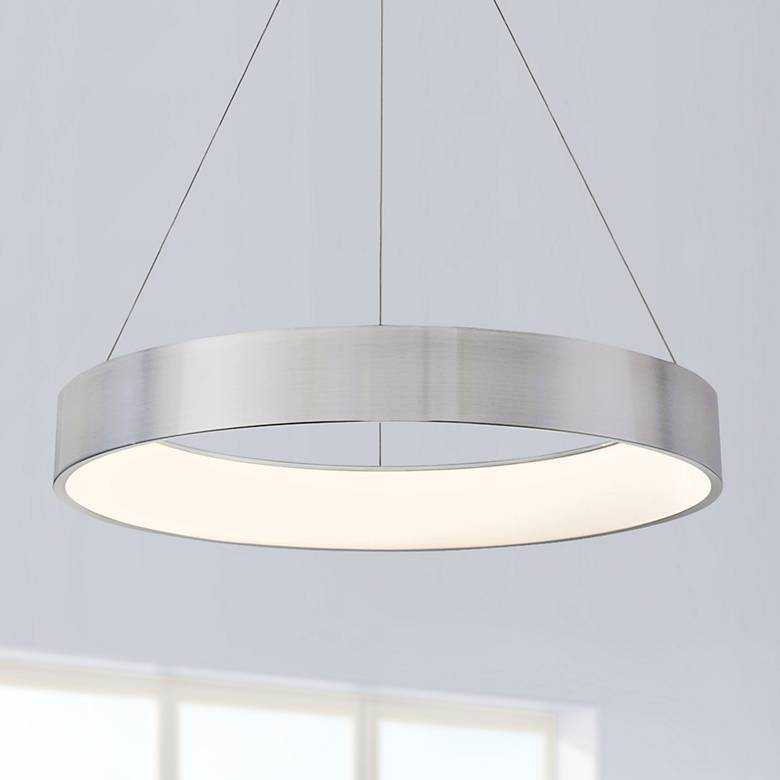 "dweLED Corso 32"" Wide Brushed Aluminum LED Pendant Light"