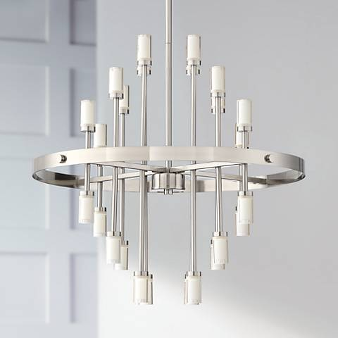 "Glenrose 26""W Brushed Nickel 24-Light LED Pendant Light"