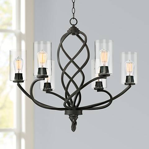 "Stribling 28"" Wide Bronze 6-Light Chandelier"
