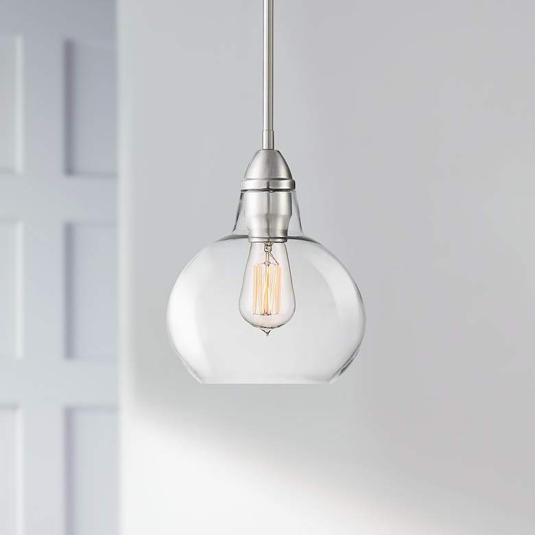 "Zoe 8"" Wide Brushed Nickel and Clear Glass Mini Pendant"