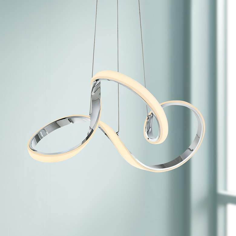 "dweLED Vornado 23"" Wide Chrome LED Pendant Light"