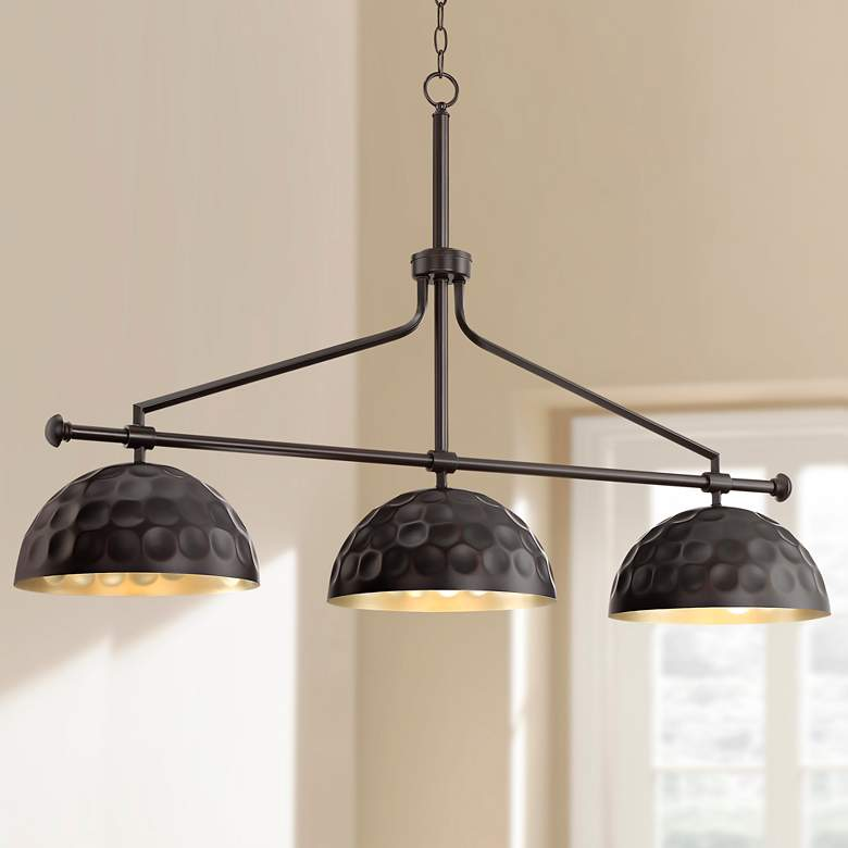 "Girard 45"" Wide Bronze and Warm Brass 3-Light Island Pendant"