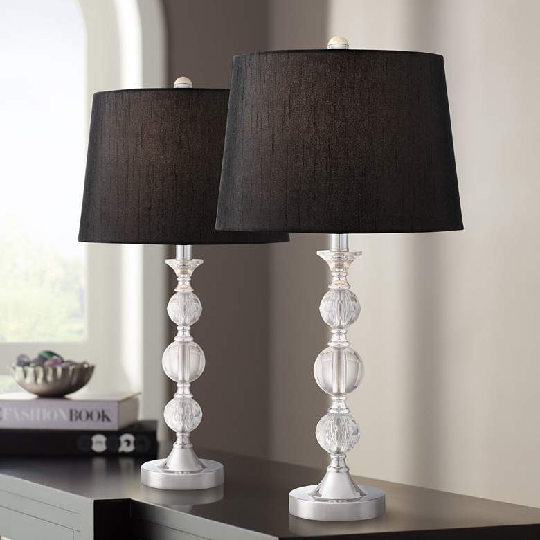 Gustavo Crystal Table Lamp with Black Shade Set of 2