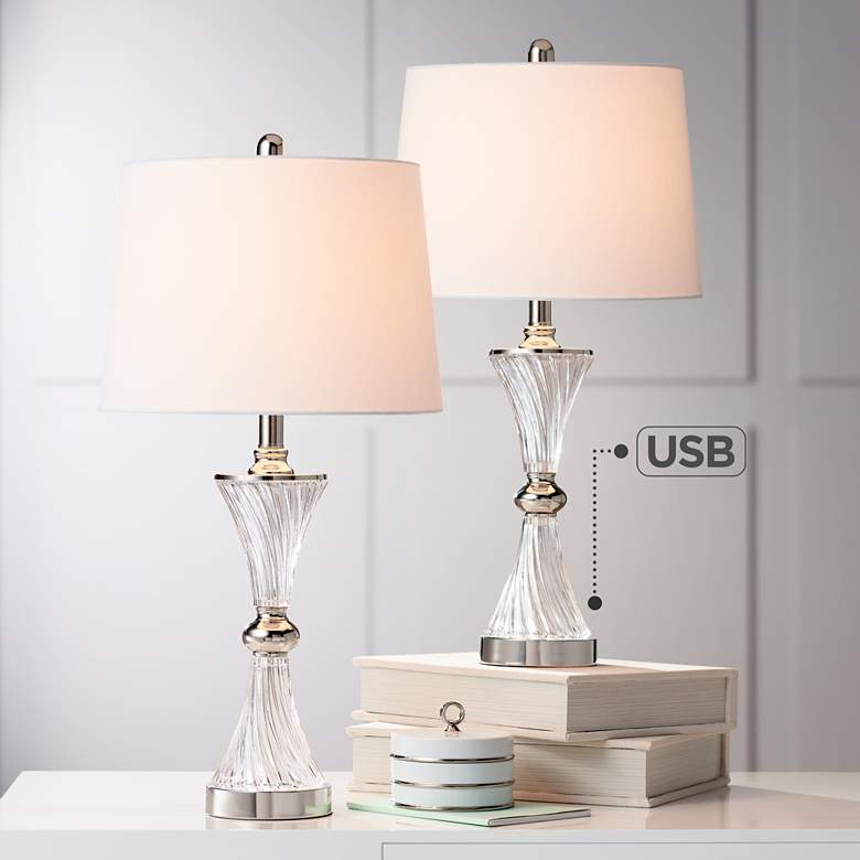 Luca Chrome and Glass Table Lamp with USB Port Set of 2
