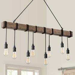 "Tomas 42 1/4""W Black Wood Grain Kitchen Island Light Pendant"