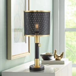 Possini Euro Helios Brass and Black LED Column Table Lamp