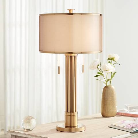 Possini Euro Granview Brass Column Table Lamp