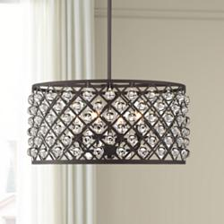 "Genter 21"" Wide Bronze and Crystal 4-Light Pendant"