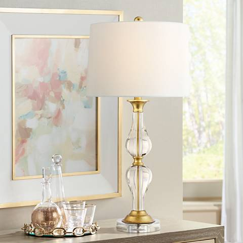 Terri Clear Crystal and Brass Table Lamp