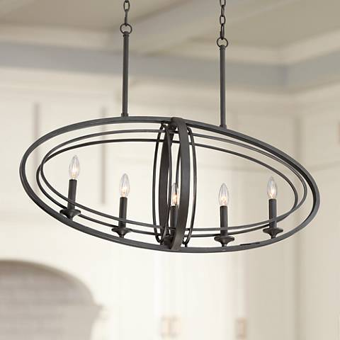 "Belmont 35 1/2"" Wide Bronze 5-Light Island Chandelier"