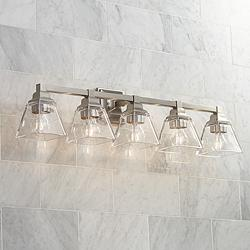 "Mencino 35 1/4"" Wide Satin Nickel and Clear Glass Bath Light"