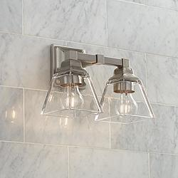 "Mencino 12 3/4"" Wide Satin Nickel and Clear Glass Bath Light"