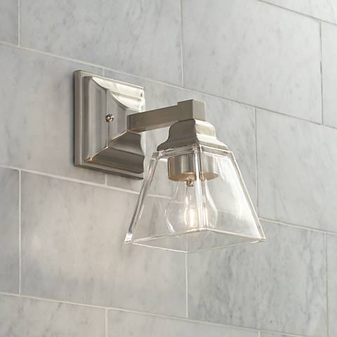 "Mencino 9"" High Satin Nickel and Clear Glass Wall Sconce"