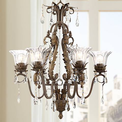 "Iron Leaf 29"" Wide Roman Bronze 6-Light Chandelier"