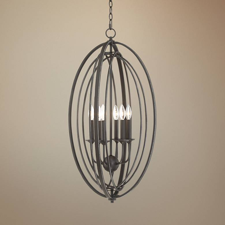 "Belmont 18"" Wide Painting Brass and Black 6-Light Chandelier"