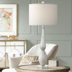 Possini Euro Celest White Glass Table Lamp