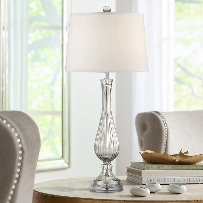 Possini Euro Diana Silver Glass Table Lamp