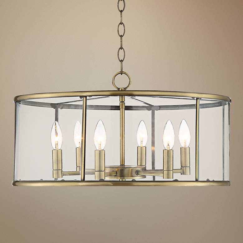 "Westlawn 21 3/4"" Wide Antique Brass 6-Light Pendant"