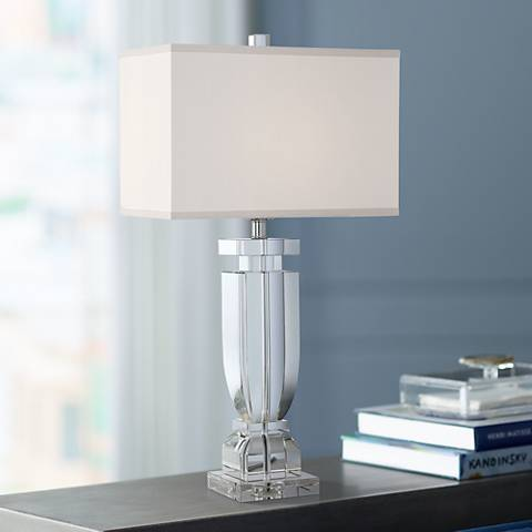 Emilia Crystal Table Lamp with Rectangular Shade
