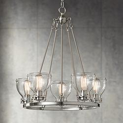 "Bellis 24 1/2"" Wide Brushed Nickel 5-Light Chandelier"