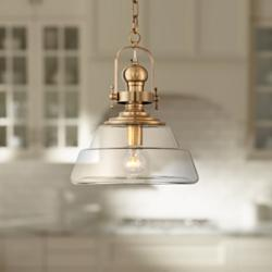 "Donovan 13"" Wide Antique Brass and Clear Glass Pendant Light"